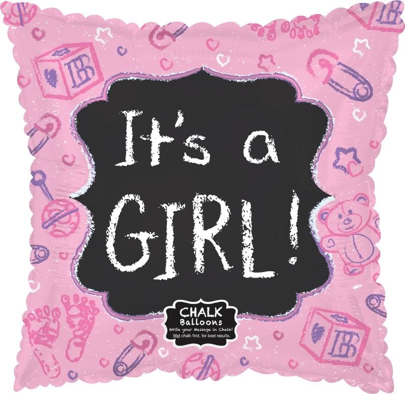 Beschrijfbare folie ballon It's a Girl (leeg!)