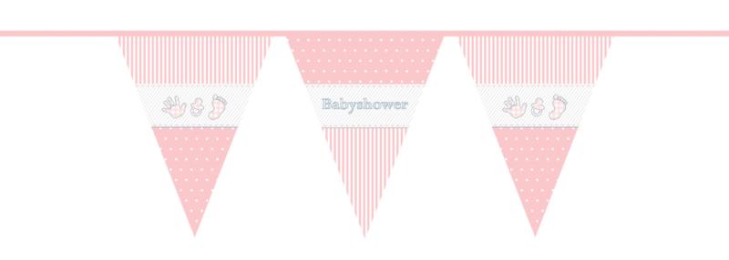 """""""Babyshower Pink"""" vlaggetjes slinger"""