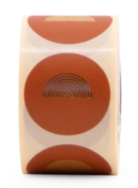 Sticker gouden regenboog rond | roest - goud | 10stk