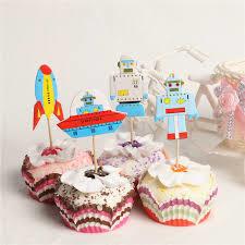 Cupcake prikker - topper / Space - Robot / 8 stk