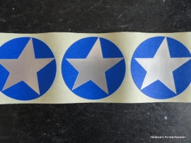 Sticker Ster / Zilver / Blauw / 20 stk