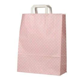 Cadeau- traktatie tasje / roze dots / 22x18cm