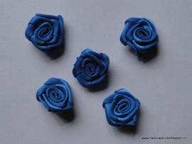 Satijnen roosje kobalt / 5stk