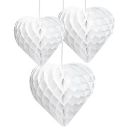 Honeycomb hart  / wit / 25cm / pstk