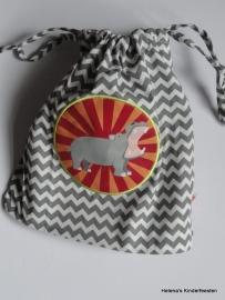Drawstring zakje klein / grijs hippo