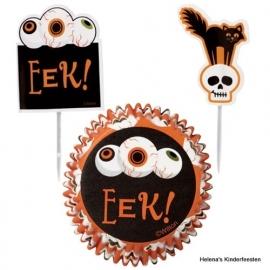 Cupcake / Halloween Eek eyes / combi pakket baking cup en prikkers