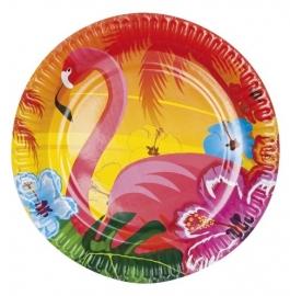 Hawai Flamingo feest bord / 6stk