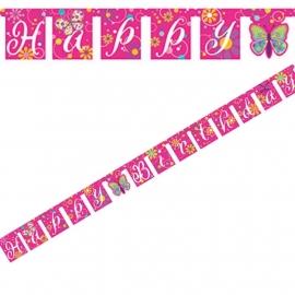 Wenslijn - banner / Vlinders feest rose / Happy Birthday