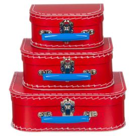 Kinderkofertjes - rood met blauw handvat