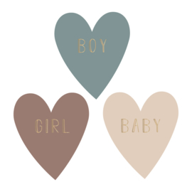 Sticker sluitzegel baby boy girl hartjes | 9stk