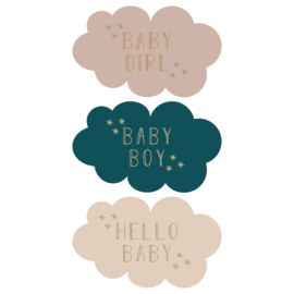 Sticker sluitzegel wolkjes geboorte baby boy girl  | 9stk
