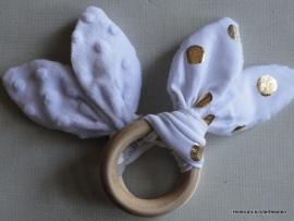 Bijtring Bunny oortjes Wit / Goud dots