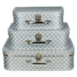 Kinderkoffertje - Zilver met sterren 35 cm