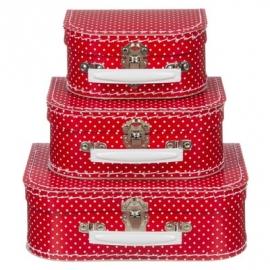 Kinderkoffertje | rood met kleine stippen