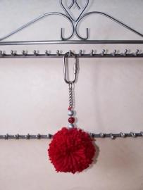 Sleutelhanger - pompom rood