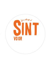 Sticker sluitzegel rond | van Sint voor .... - wit/oranje | 10stk