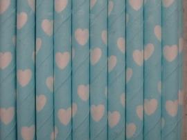 Rietjes / Papieren / licht blauw met hartjes 62457