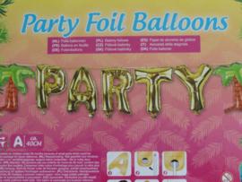 "Folie ballon slinger ""party""met Palmboom"