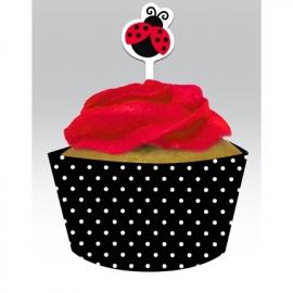 Cupcake wikkel & prikker / Lieveheersbeestje / 12stk