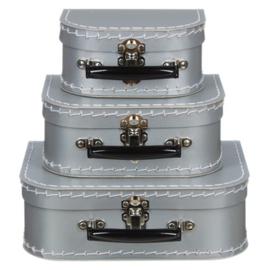 Kinderkoffertje | zilver / grijs