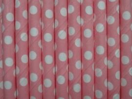 Rietjes / Papieren / roze met stippen 62459