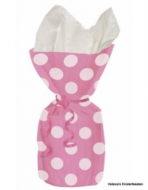 SE Cellobag hot pink met witte stippen