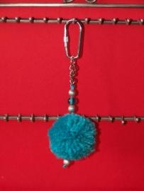 Sleutelhanger - pompom blauw