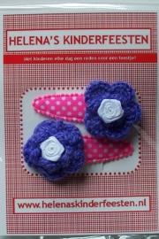 Haarknipjes / roze met witte stip met paarse bloem en roosje