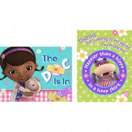 Doc Mc Stuffins / kinderfeest-  uitnodigingen en bedankkaarten