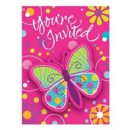 Uitnodigingen /  Vlinders feest rose