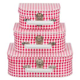 Kinderkoffertje   rood / wit geruit
