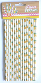 Rietjes / papier / Ananas / 16stks