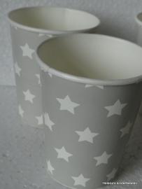 TI Papieren bekers grijs met witte sterren