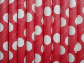 Rietjes / Papieren / rood met stippen 62464