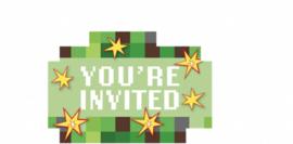 Minecraft kinderfeest uitnodigingen / 8 stk