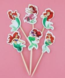Cupcake prikker - topper / Ariel de kleine Zeemeermin / 12 stk