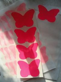 Sticker / Vlinder fluor pink / 20 stk