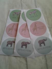 Sticker Dieren mix / 15 stuks