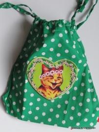 Drawstring zakje klein / groen kitten