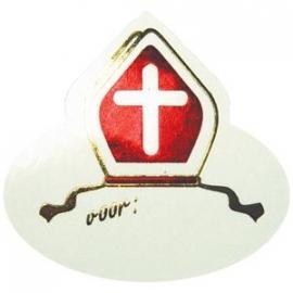 Sinterklaas stickers - mijter folie / 10 stks