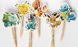 Cupcake prikkers - toppers / Pokemon / 12 stks