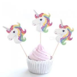 Cupcake prikker / Eenhoorn / 12 stk