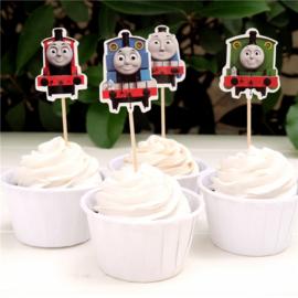 Cupcake prikkers - toppers / Thomas de kleine stoomlocomotief / 12stks