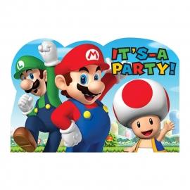 Uitnodigingen / Super Mario / kinderfeestje