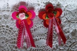 Broche /Bloem / rood- roze