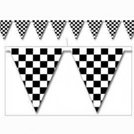 Vlaggenlijn /  Race zwart / wit geblokt