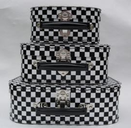 Kinderkoffertje | zwart wit geruit middel 30 cm