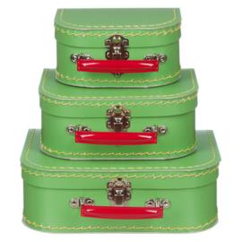 Kinderkoffertjes - Groen met rood handvat