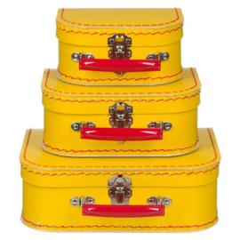 Kinderkoffertje | geel met rood handvat