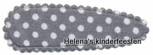 Haarkniphoesje | grijs met witte stip  5 cm